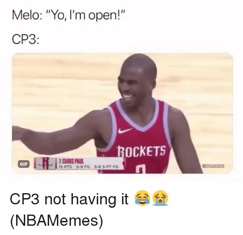 "Chris Paul: Melo: ""Yo, I'm open!""  CP3  OCKETS  CHRIS PAUL  I5 PTS 5-9 FG  GIF  3-63-PT FG CP3 not having it 😂😭 (NBAMemes)"