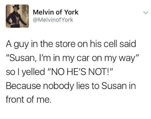 """Dank, On My Way, and 🤖: Melvin of York  @MelvinofYork  A guy in the store on his cell said  """"Susan, I'm in my car on my way""""  so l yelled """"NO HE'S NOT!""""  Because nobody lies to Susan in  front of me"""