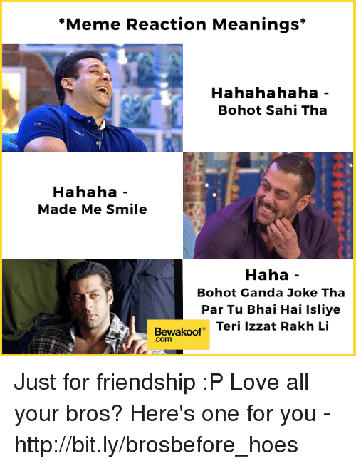 Hoes, Love, and Meme: *Meme Reaction Meanings*  Hahahahaha  Bohot Sahi Tha  Hahaha  Made Me Smile  Haha  Bohot Ganda Joke Tha  Par Tu Bhai Hai Isliye  Bewakoof eri lzzat Rakh Li  .com Just for friendship :P  Love all your bros? Here's one for you - http://bit.ly/brosbefore_hoes
