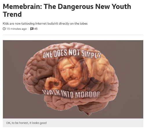mordor: Memebrain: The Dangerous New Youth  Trend  Kids are now tattooing internet bullshit directly on the lobes  。15 minutes ago  45  ONE DOES NOT SI  MPLY  WAIK INTO MORDOR  OK, to be honest, it looks good