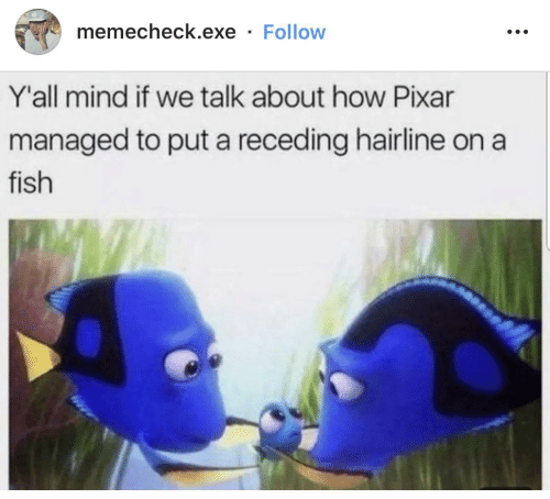 Pixar: memecheck.exe · Follow  Y'all mind if we talk about how Pixar  managed to put a receding hairline on a  fish