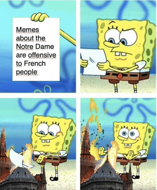 Memes, Notre Dame, and French: Memes  about the  Notre Dame  are offensive  to French  people.