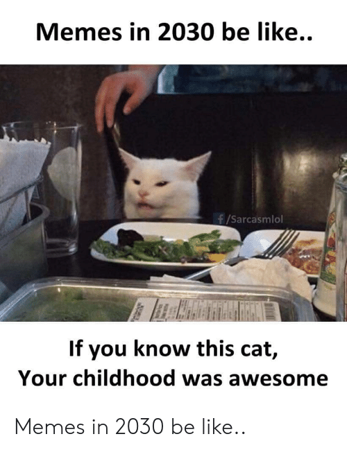 Be Like, Memes, and Awesome: Memes in 2030 be like..  f/Sarcasmlol  If you know this cat,  Your childhood was awesome Memes in 2030 be like..