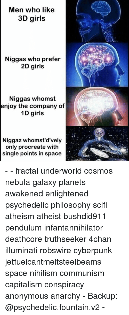 4chan, Girls, and Illuminati: Men who like  3D girls  Niggas who prefer  2D girls  Niggas whomst  enjoy the company of  1D girls  Niggaz whomst'd'vely  only procreate with  single points in space - - fractal underworld cosmos nebula galaxy planets awakened enlightened psychedelic philosophy scifi atheism atheist bushdid911 pendulum infantannihilator deathcore truthseeker 4chan illuminati robswire cyberpunk jetfuelcantmeltsteelbeams space nihilism communism capitalism conspiracy anonymous anarchy - Backup: @psychedelic.fountain.v2 -