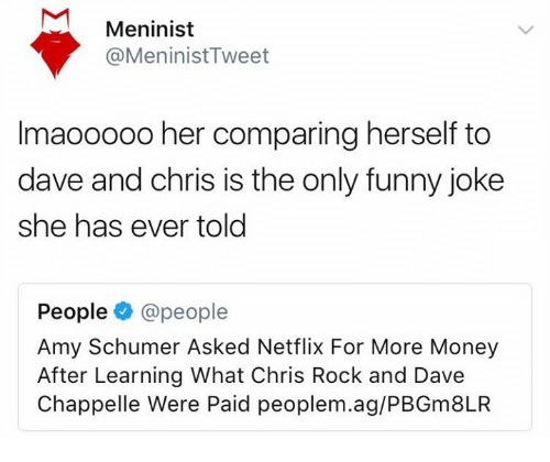 Dave Chappelle: Meninist  @MeninistTweet  Imaooo00 her comparing herself to  dave and chris is the only funny joke  she has ever told  People@people  Amy Schumer Asked Netflix For More Money  After Learning What Chris Rock and Dave  Chappelle Were Paid peoplem.ag/PBGm8LR