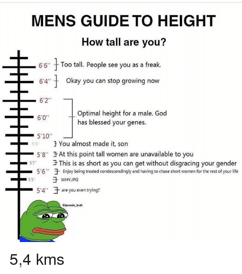"shortness: MENS GUIDE TO HEIGHT  How tall are you?  6'6""  Too tall. People see you as a freak.  -64"" t  okay you can stop growing now  6'2""  Optimal height for a male. God  has blessed your genes.  6'0  59  3 You almost made it, son  -5'8""于At this point tall women are unavailable to you  3 This is as short as you can get without disgracing your gender  于Enjoy being treated condescendingly and having to chase short women for the rest of your life  57  5.6""  -5.4""  于are you even trying?  -  jurassie brah 5,4 kms"