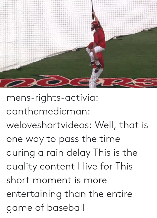 Baseball, Tumblr, and Blog: mens-rights-activia: danthemedicman:  weloveshortvideos:  Well, that is one way to pass the time during a rain delay   This is the quality content I live for   This short moment is more entertaining than the entire game of baseball