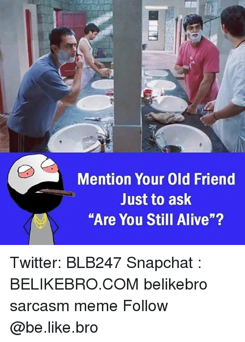 """Alive, Be Like, and Meme: Mention Your Old Friend  Just to ask  Are You Still Alive""""?  M. Twitter: BLB247 Snapchat : BELIKEBRO.COM belikebro sarcasm meme Follow @be.like.bro"""