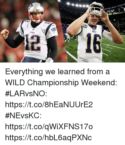 mercedes benz: Mercedes-Benz Superd  PATROTS Everything we learned from a WILD Championship Weekend:  #LARvsNO: https://t.co/8hEaNUUrE2  #NEvsKC: https://t.co/qWiXFNS17o https://t.co/hbL6aqPXNc