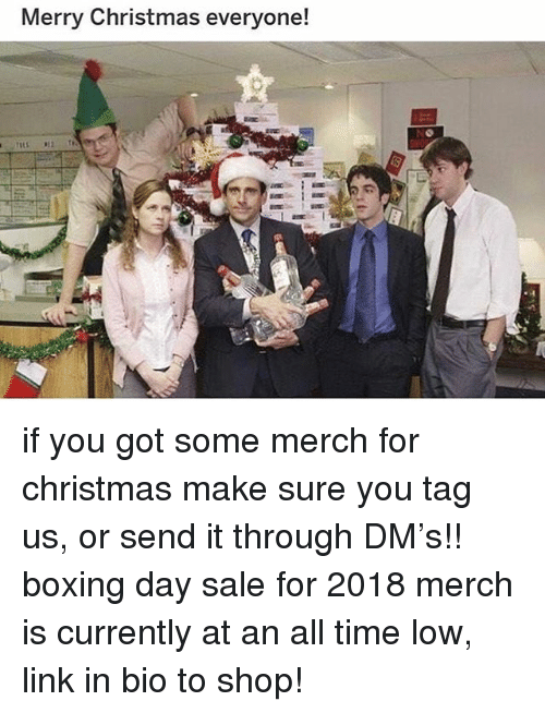 all time low: Merry Christmas everyone! if you got some merch for christmas make sure you tag us, or send it through DM's!! boxing day sale for 2018 merch is currently at an all time low, link in bio to shop!