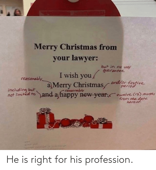 profession: Merry Christmas from  your lawyer:  but in no way  guarantee  I wish you/  reasonably  andlor festive  period  a Merry Christmas  reasorably  not limited to and a happy new year:+welve (12) menths  including but  from the date  hereof He is right for his profession.