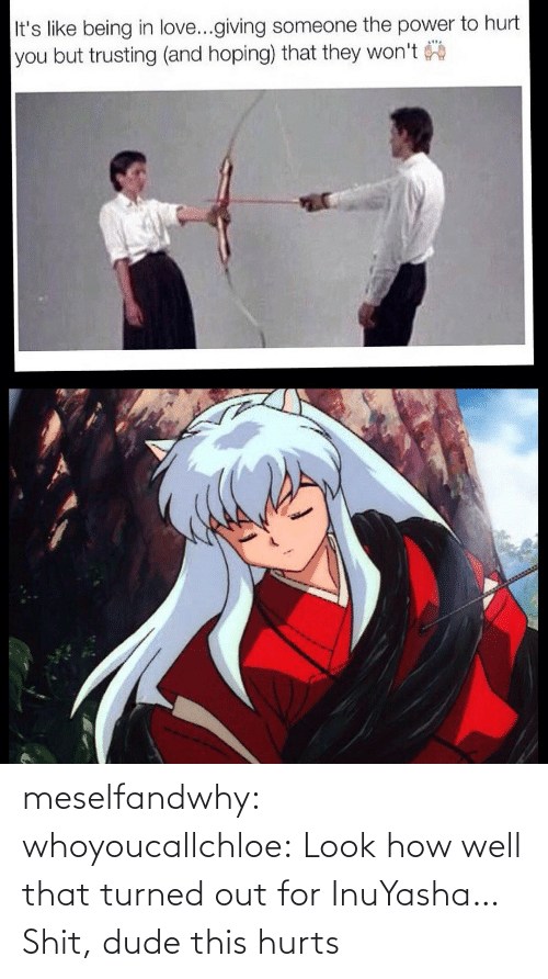 shit: meselfandwhy: whoyoucallchloe:  Look how well that turned out for InuYasha…  Shit, dude this hurts