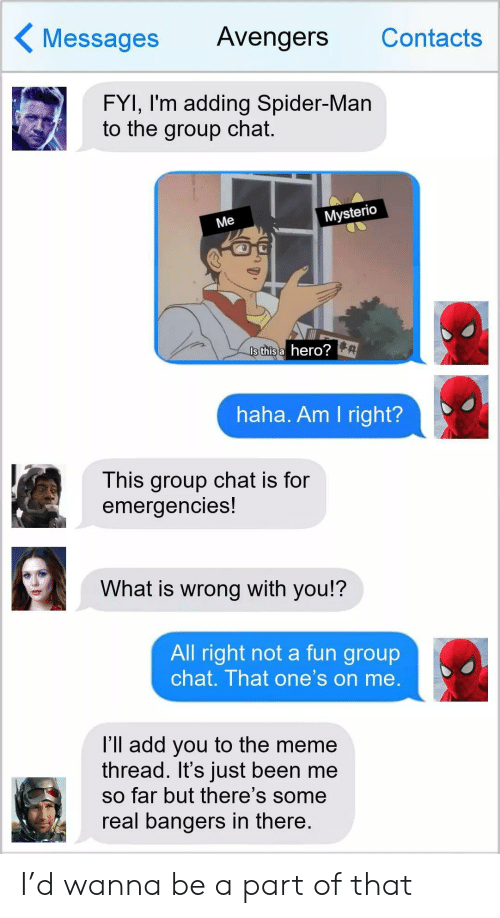 am i right: Messages  Avengers  Contacts  FYI, I'm adding Spider-Man  to the group chat.  Mysterio  Me  Is this a hero?  haha. Am I right?  This group chat is for  emergencies!  What is wrong with you!?  All right not a fun group  chat. That one's on me.  l'll add you to the meme  thread. It's just been me  so far but there's some  real bangers in there. I'd wanna be a part of that