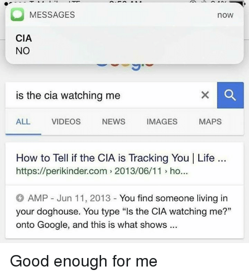 "Google, Life, and News: MESSAGES  no  CIA  NO  is the cia watching me  NEWS  IMAGES  MAPS  ALL VIDEOS  How to Tell if the CIA is Tracking You I Life  https://perikinder.com 2013/06/11 ho...  AMP Jun 11, 2013 You find someone living in  your doghouse. You type ""ls the CIA watching me?""  onto Google, and this is what shows Good enough for me"