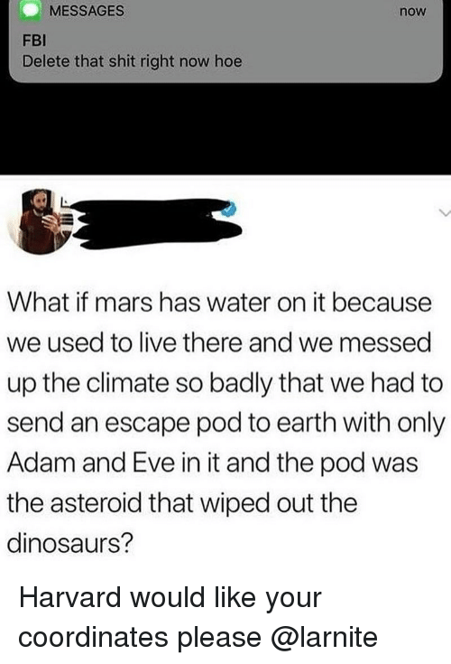 asteroid: MESSAGES  now  FBI  Delete that shit right now hoe  What if mars has water on it because  we used to live there and we messed  up the climate so badly that we had to  send an escape pod to earth with only  Adam and Eve in it and the pod was  the asteroid that wiped out the  dinosaurs? Harvard would like your coordinates please @larnite