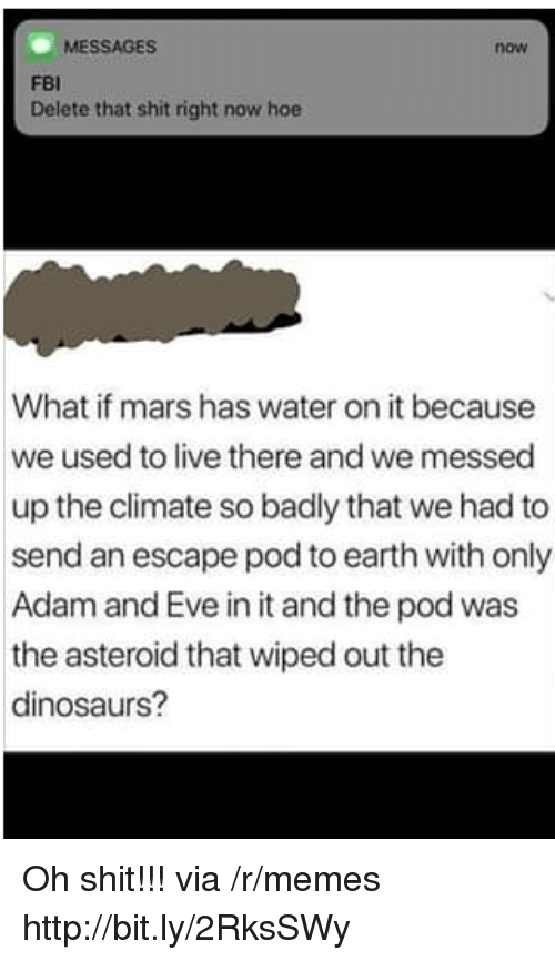 asteroid: MESSAGES  now  FBI  Delete that shit right now hoe  What if mars has water on it because  we used to live there and we messed  up the climate so badly that we had to  send an escape pod to earth with only  Adam and Eve in it and the pod was  the asteroid that wiped out the  dinosaurs? Oh shit!!! via /r/memes http://bit.ly/2RksSWy