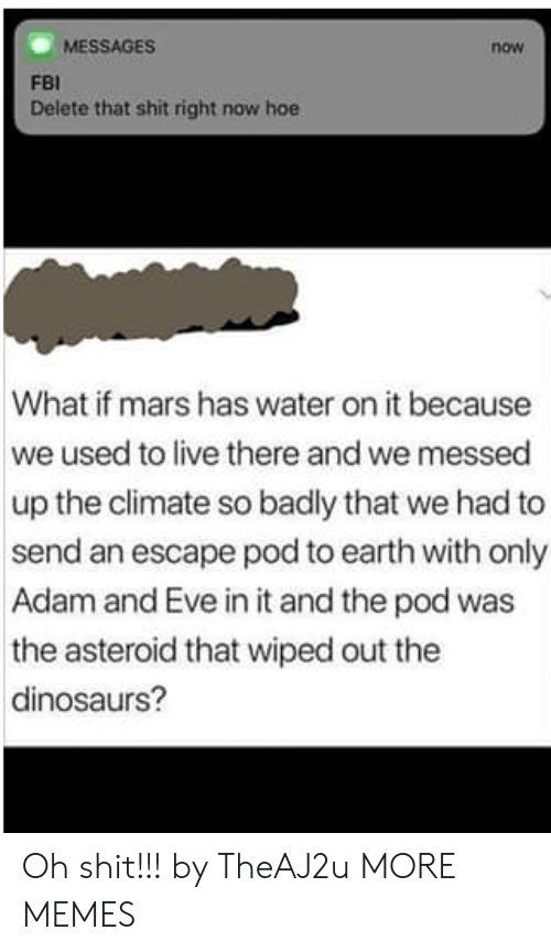 asteroid: MESSAGES  now  FBI  Delete that shit right now hoe  What if mars has water on it because  we used to live there and we messed  up the climate so badly that we had to  send an escape pod to earth with only  Adam and Eve in it and the pod was  the asteroid that wiped out the  dinosaurs? Oh shit!!! by TheAJ2u MORE MEMES