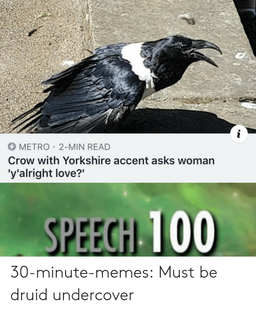 """undercover: METRO 2-MIN READ  Crow with Yorkshire accent asks woman  'y'alright love?"""" 30-minute-memes: Must be druid undercover"""