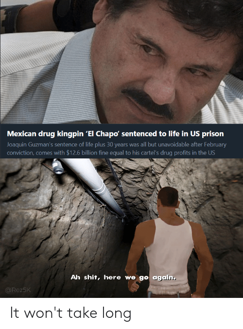 El Chapo, Life, and Reddit: Mexican drug kingpin 'El Chapo' sentenced to life in US prison  Joaquin Guzman's sentence of life plus 30 years was all but unavoidable after February  conviction, comes with $12.6 billion fine equal to his cartel's drug profits in the US  Ah shit, here we go again.  @Rez5K It won't take long