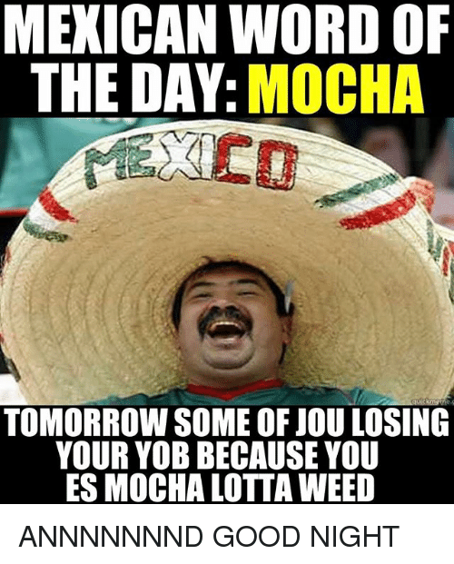 Mexican Word of the Day: MEXICAN WORD OF  THE DAY  MOCHA  TOMORROW SOME OF JOU LOSING  YOUR YOB BECAUSE YOU  ES MOCHA LOTTA WEED ANNNNNNND GOOD NIGHT