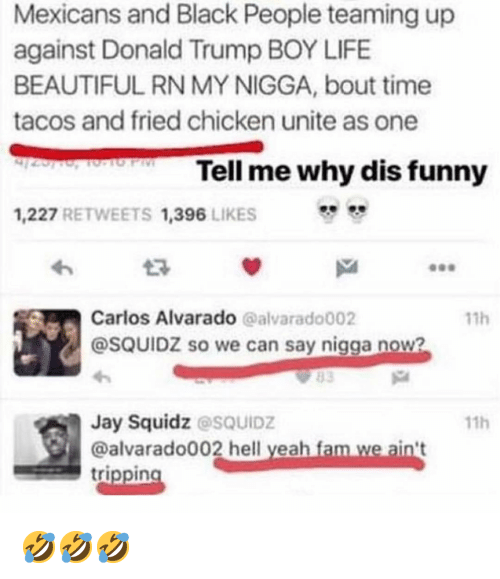 trippin: Mexicans and Black People teaming up  against Donald Trump BOY LIFE  BEAUTIFUL RN MY NIGGA, bout time  tacos and fried chicken unite as one  Tell me why dis funny  1,227 RETWEETS 1,396 LIKES  わ  Carlos Alvarado @alvarado002  @SQUIDZ so we can say nigga now?  11h  Jay Squidz @sQUIDZ  @alvarado002 hell yeah fam we ain't  trippin  11h 🤣🤣🤣