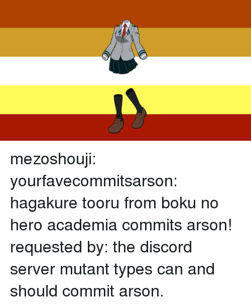 Target, Tumblr, and Blog: mezoshouji: yourfavecommitsarson:   hagakure tooru from boku no hero academia commits arson! requested by: the discord server   mutant types can and should commit arson.
