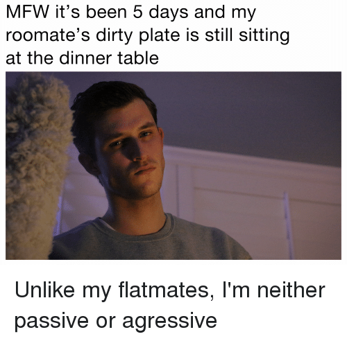 Funny, Mfw, and Passivation: MFW it's been 5 days and my  roomate S dirty plate IS Still Sitting  at the dinner table Unlike my flatmates, I'm neither passive or agressive