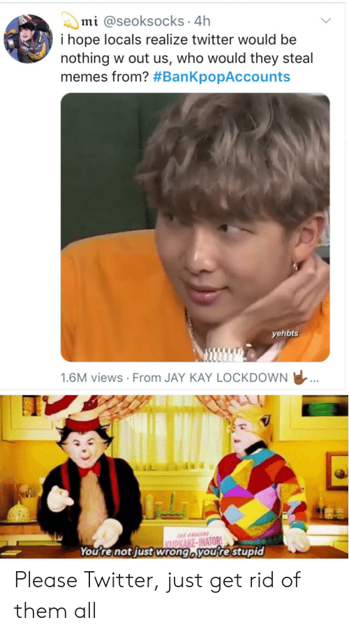 Jay, Memes, and Reddit: mi @seoksocks 4h  i hope locals realize twitter would be  nothing w out us, who would they steal  memes from? #BanKpopAccounts  yehbts  1.6M views From JAY KAY LOCKDOWN  THE AMANG  CLUPKAKE-INATOR!  You're not just wrong, you're stupid Please Twitter, just get rid of them all