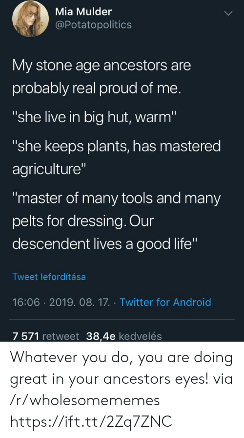 """dressing: Mia Mulder  @Potatopolitics  My stone age ancestors are  probably real proud of me.  """"she live in big hut, warm""""  """"she keeps plants, has mastered  agriculture""""  """"master of many tools and many  pelts for dressing. Our  descendent lives a good life""""  Tweet lefordítása  16:06 2019. 08.17. Twitter for Android  7 571 retweet 38,4e kedvelés Whatever you do, you are doing great in your ancestors eyes! via /r/wholesomememes https://ift.tt/2Zq7ZNC"""