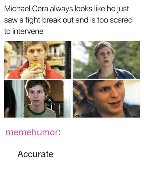 "Michael Cera, Saw, and Tumblr: Michael Cera always looks like he just  saw a fight break out and is too scared  to intervene <p><a href=""http://memehumor.net/post/163894366547/accurate"" class=""tumblr_blog"">memehumor</a>:</p>  <blockquote><p>Accurate</p></blockquote>"