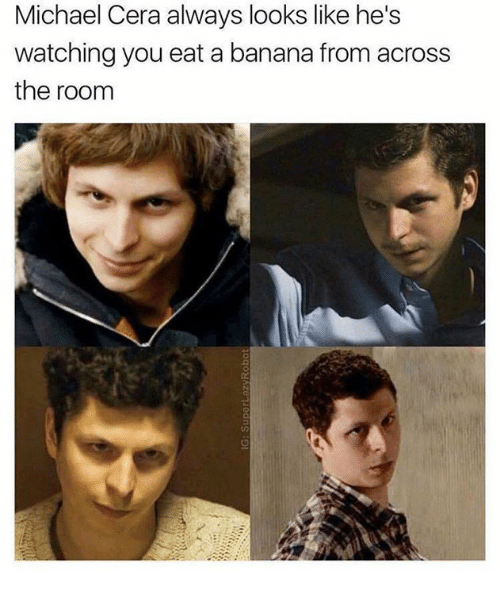 Memes, Michael Cera, and Banana: Michael Cera always looks like he's  watching you eat a banana from across  the room