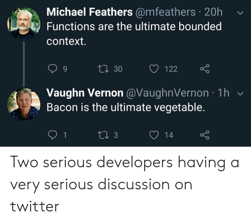 Vegetable: Michael Feathers @mfeathers 20h  Functions are the ultimate bounded  context.  Li 30  122  Vaughn Vernon @VaughnVernon 1h  Bacon is the ultimate vegetable.  1  13  14 Two serious developers having a very serious discussion on twitter