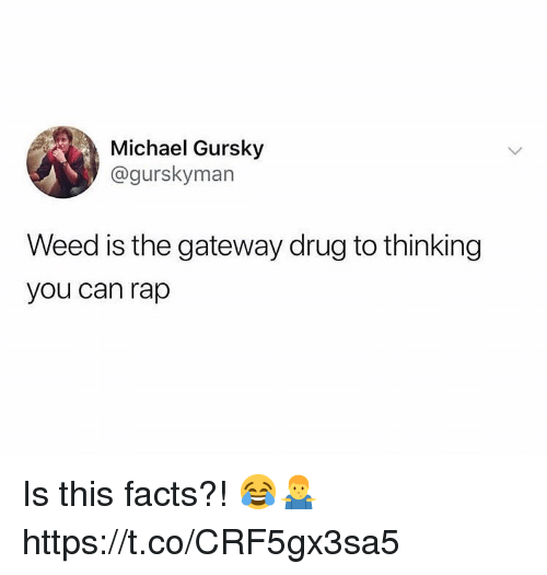 Facts, Rap, and Weed: Michael Gursky  @gurskyman  Weed is the gateway drug to thinking  you can rap Is this facts?! 😂🤷♂️ https://t.co/CRF5gx3sa5