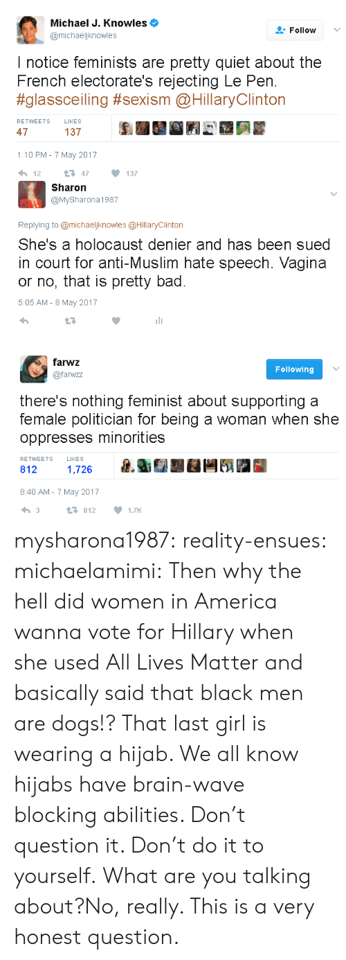 All Lives Matter: Michael J. Knowles  @michaeljknowles  Follow v  I notice feminists are pretty quiet about the  French electorate's rejecting Le Pen.  #glassceiling #sexism @HillaryClinton  RETWWEETS LIKES  47  137  1:10 PM- 7 May 2017   Sharon  @MySharona1987  Replying to @michaeljknowles @HillaryClinton  She's a holocaust denier and has been sued  in court for anti-Muslim hate speech. Vagina  or no, that is pretty bad  5:05 AM - 8 May 2017   farwz  @farwzz  Following  there's nothing feminist about supporting a  female politician for being a woman when she  oppresses minorities  RETWEETS  LIKES  812  1,726  8:40 AM-7 May 2017  3  8121.7K mysharona1987:  reality-ensues: michaelamimi: Then why the hell did women in America wanna vote for Hillary when she used All Lives Matter and basically said that black men are dogs!? That last girl is wearing a hijab. We all know hijabs have brain-wave blocking abilities. Don't question it. Don't do it to yourself.  What are you talking about?No, really. This is a very honest question.