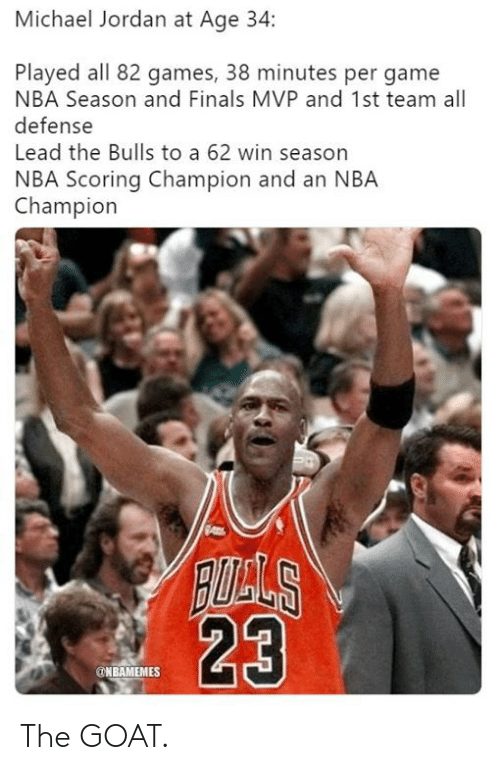 Finals, Michael Jordan, and Nba: Michael Jordan at Age 34:  Played all 82 games, 38 minutes per game  NBA Season and Finals MVP and 1st team all  defense  Lead the Bulls to a 62 win season  NBA Scoring Champion and an NBA  Champion  23  @NBAMEMES The GOAT.