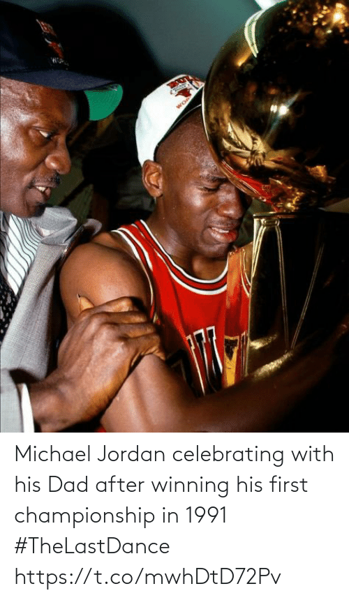 Championship: Michael Jordan celebrating with his Dad after winning his first championship in 1991 #TheLastDance https://t.co/mwhDtD72Pv