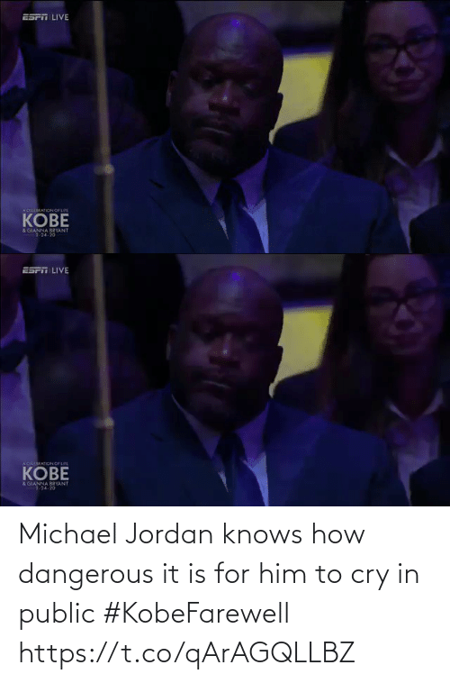 Dangerous: Michael Jordan knows how dangerous it is for him to cry in public #KobeFarewell https://t.co/qArAGQLLBZ