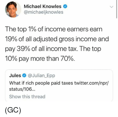 npr: Michael Knowles  @michaeljknowles  The top 1% of income earners earn  19% of all adjusted gross income and  pay 39% of all income tax. The top  10% pay more than 70%.  Jules @Julian_Epp  What if rich people paid taxes twitter.com/npr/  status/106...  Show this thread (GC)