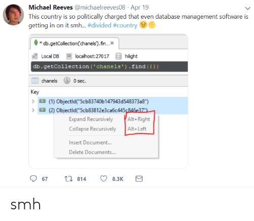 "Smh, Michael, and Software: Michael Reeves @michaelreeves08 Apr 19  This country is so politically charged that even database management software is  getting in on it smh-#divided #country  db.getCollection(chanels).fn..  Local DB  db.getCollection (' chanels').find ())  localhost:27017  hilight  chanels  0 sec.  Key  (1) Objectld""5cb83740b 147943d548373a8"")  (2) Objectld(""5cb83812e3ca6c445246e37  Expand Recursively Alt-Right  Collapse RecursivelyAlt+Left  Insert Document..  Delete Documents...  67  814  8.3K smh"