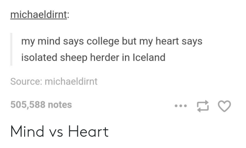 Isolated: michaeldirnt:  my mind says college but my heart says  isolated sheep herder in Iceland  Source: michaeldirnt  505,588 notes Mind vs Heart