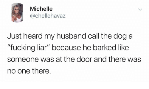 "Fucking, Husband, and Dog: Michelle  @chellehavaz  Just heard my husband call the dog a  ""fucking liar"" because he barked like  someone was at the door and there was  no one there."