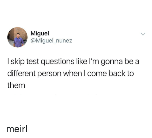 Miguel, Test, and MeIRL: Miguel  @Miguel_nunez  I skip test questions like I'm gonna be a  different person when l come back to  them meirl