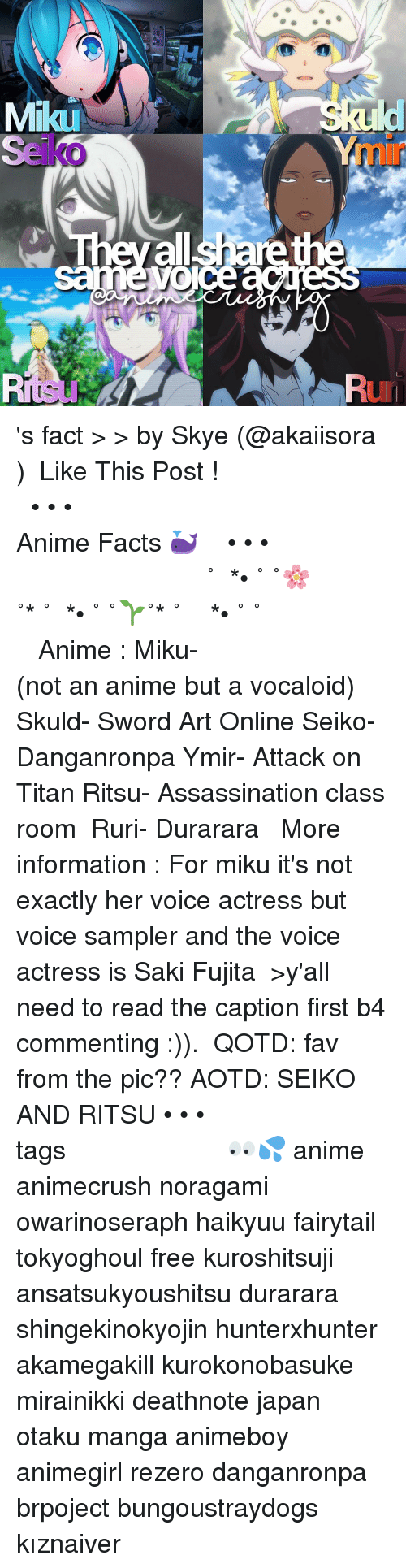 Assassination, Memes, and The Voice: Mikau  all  share the  OICe 's fact > > by Skye (@akaiisora ) ⠀ ⠀Like This Post ! ⠀ ┌──────────⠀⠀⠀⠀⠀⠀⠀⠀ ❀ • • • ⠀ ⠀ ⠀⠀⠀⠀⠀⠀⠀ ⠀‣ ‣ ❝ Anime Facts 🐳 ❞ ⠀ ⠀ ⠀⠀⠀⠀⠀⠀⠀• • • ❀⠀⠀⠀⠀⠀⠀ ⠀────────────┘ ⠀ ୨˚̣̣̣͙୧⋆*•̩̩͙৩˚༚ཻ˚̩̩͙🌸˚̩̩͙*⋆˚♛⋆*•̩̩͙࿔࿆˚༚ཻ˚̩̩͙🌱˚̩̩͙*⋆˚♛➹♛⋆*•̩̩͙৩˚༚ཻ˚̩̩͙ ⠀⠀✧࿐ ⠀┈┈┈┈┈┈┈┈┈┈┈┈┈┈┈┈┈┈⇢ ⠀⠀⠀ ⠀⇢ Anime : Miku- (not an anime but a vocaloid) Skuld- Sword Art Online Seiko- Danganronpa Ymir- Attack on Titan Ritsu- Assassination class room ⠀ Ruri- Durarara ⠀ ⠀⇢ More information : For miku it's not exactly her voice actress but voice sampler and the voice actress is Saki Fujita ⠀ >y'all need to read the caption first b4 commenting :)). ⠀ ⠀❥『QOTD』: fav from the pic?? ⠀❥『AOTD』: SEIKO AND RITSU • • • ┈┈┈┈┈┈┈┈┈┈┈┈┈┈┈┈┈┈┈┈⇢tags 👀💦 anime animecrush noragami owarinoseraph haikyuu fairytail tokyoghoul free kuroshitsuji ansatsukyoushitsu durarara shingekinokyojin hunterxhunter akamegakill kurokonobasuke mirainikki deathnote japan otaku manga animeboy animegirl rezero danganronpa brpoject bungoustraydogs kıznaiver