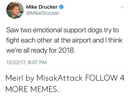 Dank, Dogs, and Memes: Mike Drucker  @MikeDrucker  Saw two emotional support dogs try to  fight each other at the airport and I think  we're all ready for 2018.  12/22/17, 9:07 PM Meirl by MisakAttack FOLLOW 4 MORE MEMES.
