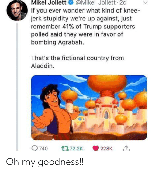 Agrabah, Aladdin, and Trump: Mikel Jollett@Mikel_Jollett 2d  If you ever wonder what kind of knee-  jerk stupidity we're up against, just  remember 41% of Trump supporters  polled said they were in favor of  bombing Agrabah  That's the fictional country from  Aladdin.  9740  228K Oh my goodness!!