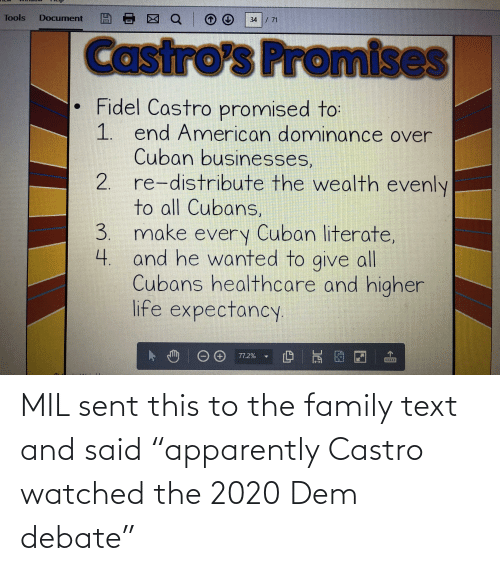 """castro: MIL sent this to the family text and said """"apparently Castro watched the 2020 Dem debate"""""""