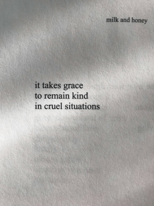 Honey, Milk, and Grace: milk and honey  it takes grace  to remain kind  in cruel situations