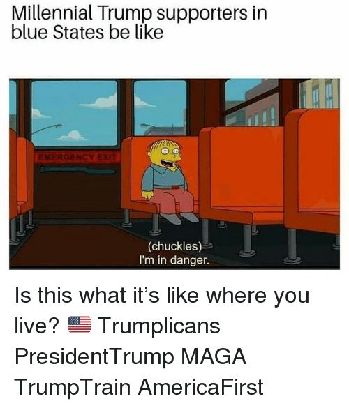 Be Like, Memes, and Blue: Millennial Trump supporters in  blue States be like  EMERGENCY EXT  (chuckles)  I'm in danger. Is this what it's like where you live? 🇺🇸 Trumplicans PresidentTrump MAGA TrumpTrain AmericaFirst