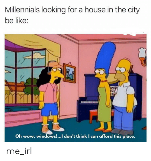 Be Like, Windows, and Wow: Millennials looking for a house in the city  be like:  Oh wow, windows!...I don't think I can afford this place. me_irl