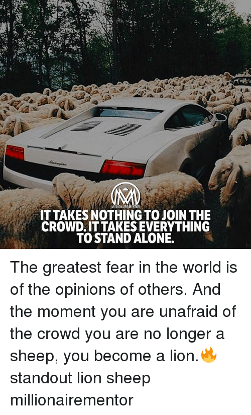 momentous: MILLIONAIREMENTOR  IT TAKES NOTHING TO JOIN THE  CROWD.IT TAKES EVERYTHING  TO STAND ALONE. The greatest fear in the world is of the opinions of others. And the moment you are unafraid of the crowd you are no longer a sheep, you become a lion.🔥 standout lion sheep millionairementor